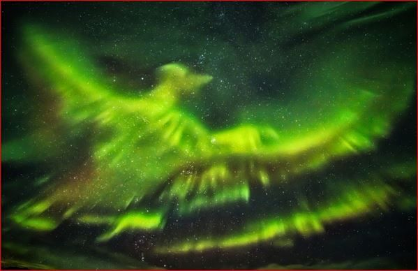 This incredible aurora borealis looks like a rising phoenix over Iceland andwhich was common in ancient mythology.