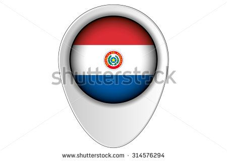 A 3D Map Pointer Flag Illustration of the country of  Paraguay