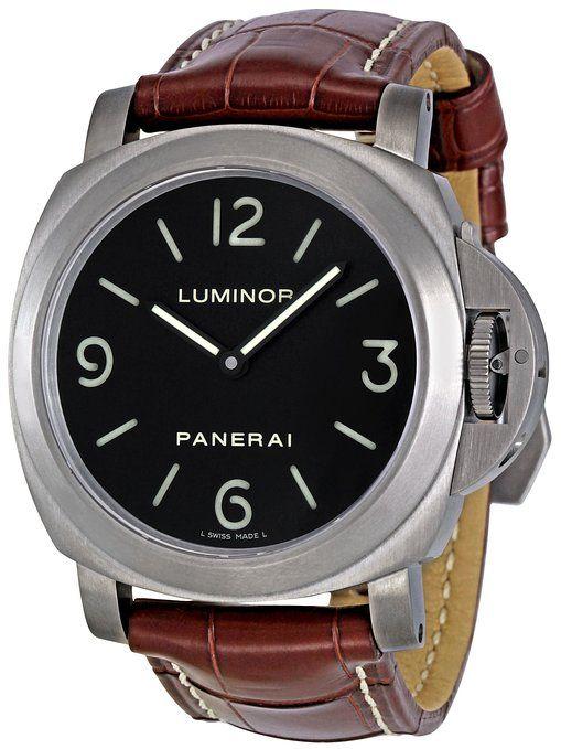 Panerai Men's PAM00176 Luminor Base Black Dial Watch #watches #menswatches #time #mensfashion