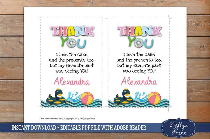 Pool Birthday Invitation & Pool Thank You card, Pool Birthday Invitation, Thank You card, Self Editable PDF file, Instant Download, Set