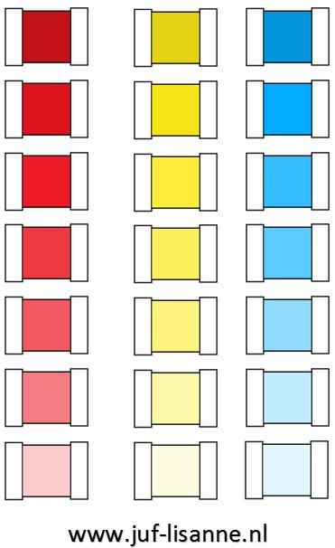 www.juf-lisanne.nl Montessori nuancedoos kleurspoelen rood, geel en blauw.