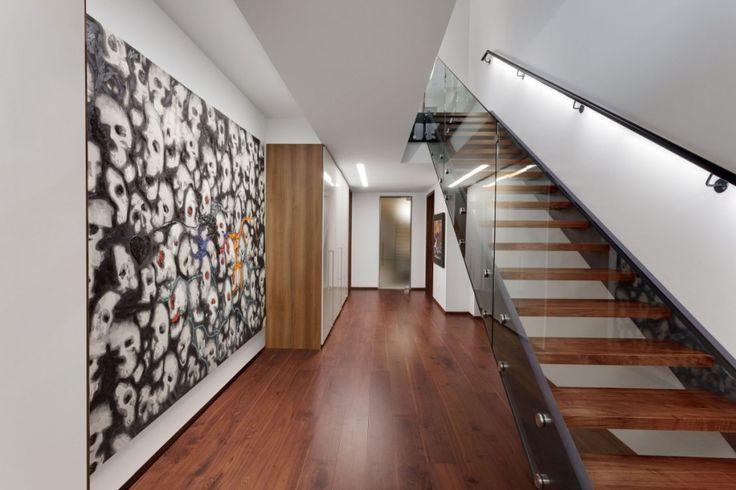 Interior:Modern Hallway Design Ideas With Skeleton Wall And Wooden Flooring Also Wooden Shelves Near Glass Handle Staircase For Modern Mensions Of Iron Lace Modern Mansion Style With Adorable Staircase In Canada Modern Mansion Style with Adorable Black Polka Dots Staircase in Canada