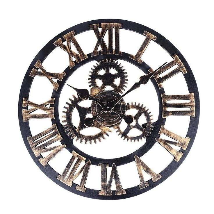 details about large vintage wall clock wooden 3d decorative gear retro kitchen home decor gift