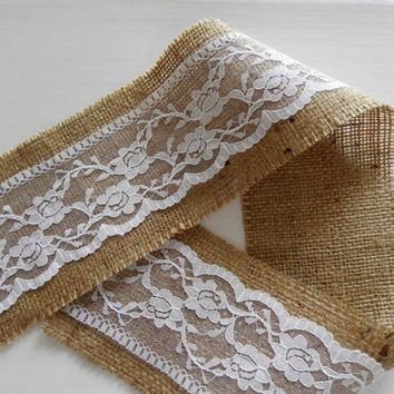 "Burlap ribbon  4""(10cm) by 3 - 6 - 9 yards (2,75m - 5,50m - 8,25m) with lace - rustic wedding or home decor"