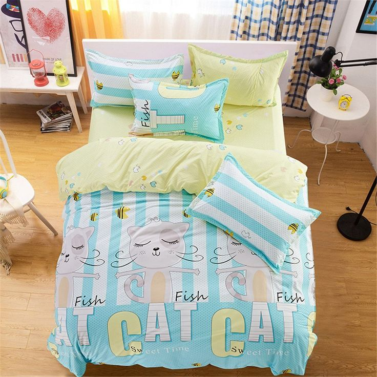 esydream queen twin size cute cat print kids home bedding sets 4pcset no comforter