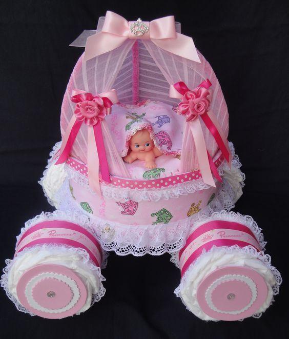 Princess Coach Carriage Diaper Cake www.facebook.com/DiaperCakesbyDiana