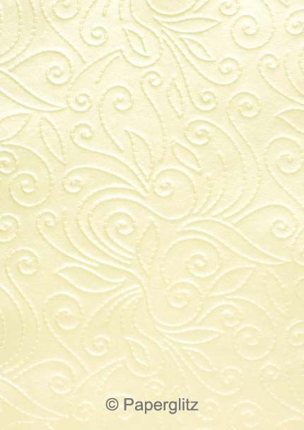 Handmade Embossed Paper - Elyse Ivory Pearl A4 Sheets