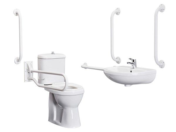 Make life so much easier for yourself or a loved one with this pack. Pack includes:   Comfort Height Doc M Pan  Doc M Cistern  Toilet Seat  Wall Mounted Basin  Grab Rails (5th Grab Rail to be fitted to  back of door)  1 Drop-down Rail  Spray Mixer Tap  Mirror and Bottle Trap not included.  LABC cert no: 396  #disabled #independence #mobility