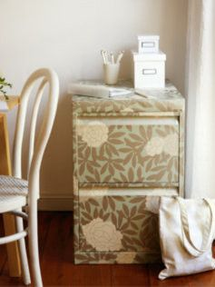 How to wallpaper a filing cabinet