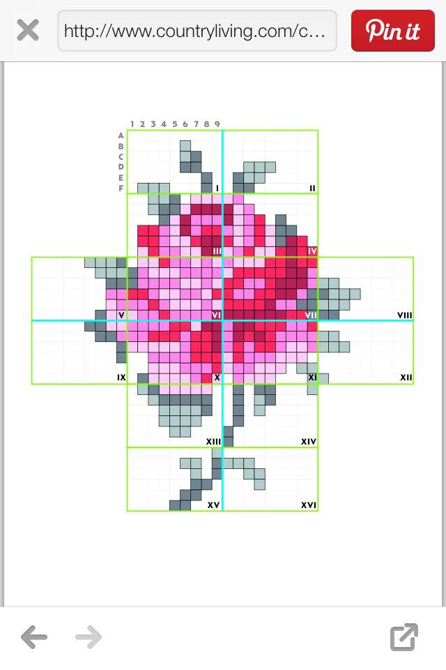 Cross stitch rose painting plan Eline Pellinkhof designs