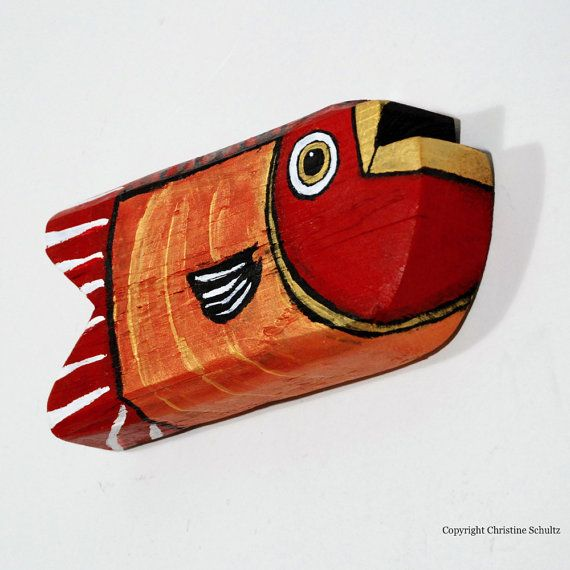 Red and Gold Painted Wood Fish Folk Art