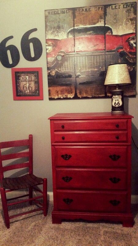Route 66 decor Annie Sloan Emperor's Silk chalk paint. Boys room