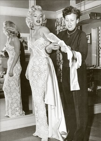 Marilyn Monroes White Silk Satin and Alencon Beaded Lace Dress Formal Wiggle Wedding Gown and Train