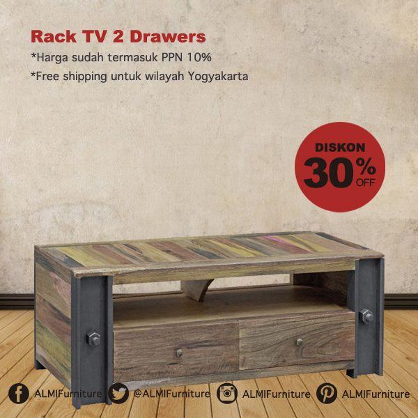 Sambut keluarga Anda dengan Rack TV 2 Drawers pilihan terbaik kami untuk melengkapi ruang tamu Anda. Desainnya yang klasik juga memiliki banyak fungsi sebagai koleksi di rumah Anda. Info Pemesanan Telp. (0274) 4342 888 (Customer Service & Sales) Cek disini..http://ow.ly/YpyoN