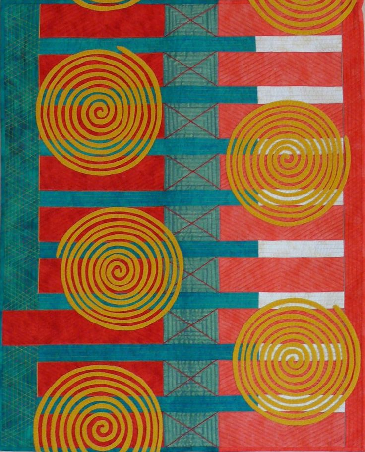 """""""Incense & Prayers"""" A quilt by Barbara Kavermann, inspired by huge incense coils in a Hong Kong temple"""