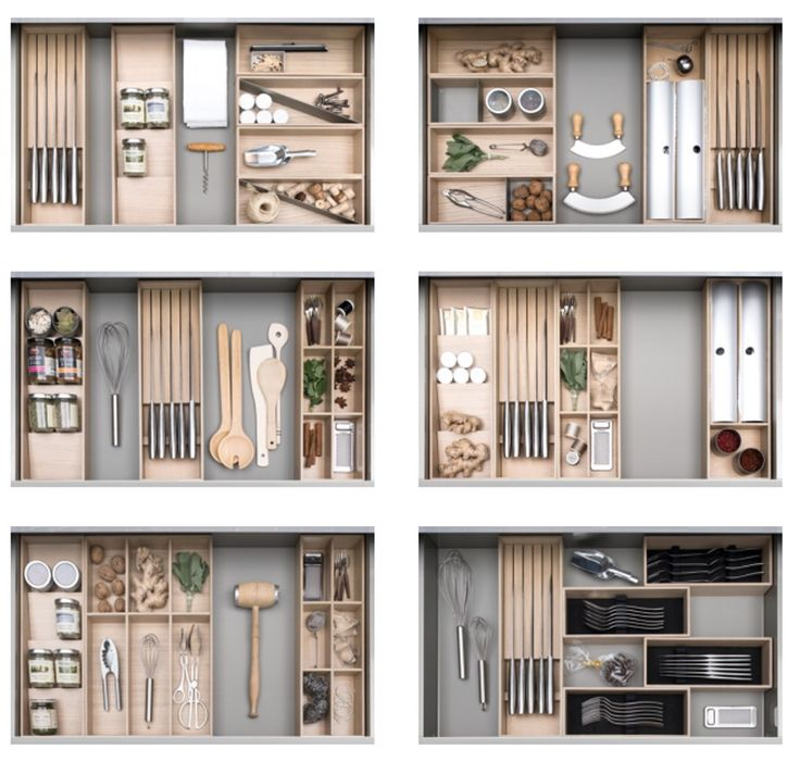 Endless possibilities for internal organisation. Tin foil and cling film holders, knife racks, wooden boxes! Today one way, tomorrow another. How will you arrange your drawer? Picture depicts 900mm drawers.