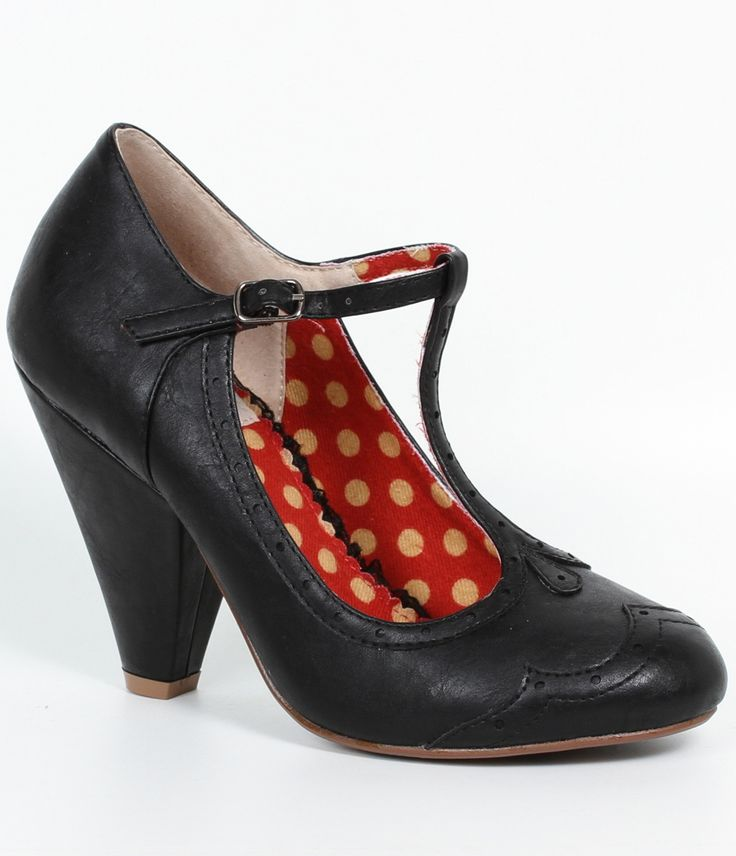 Ellie Bettie Page Black Leatherette Kaden T-Strap Spectator Heels  $73.00 AT vintagedancer.com