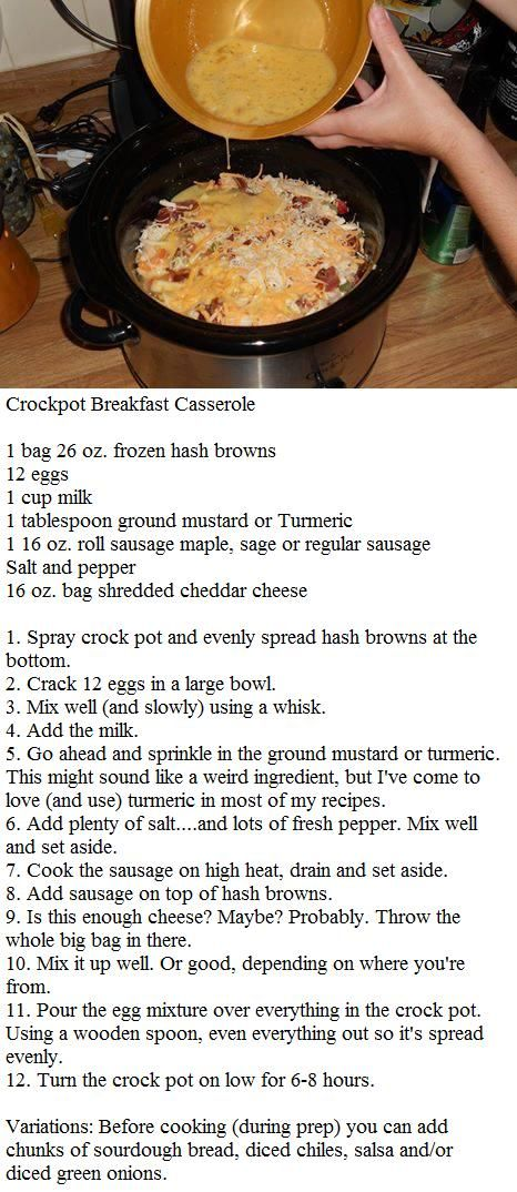 """Crockpot Breakfast Casserole making this tonight for tomorrow morning! YUM! Made  - added drained Rotel - BF loved &"""" even tho I'm not into  am casseroles - this is very good!"""