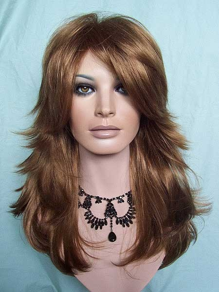 Beautiful Layered Strawberry Blonde Wig With Long Bangs