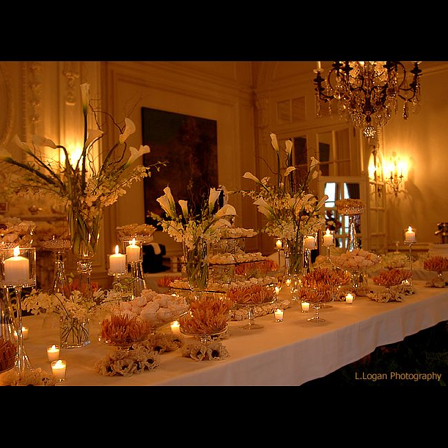 elegant candy bar buffet...fun idea but still keeping the romantic flow going