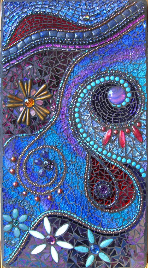 "Oodles of gemstones incorporated into this..... turquoise, mother of pearl, hemimorphite olivary, cultured pearls, amethyst, agate, gold coral, blue sand night stars sitara, lapis lazuli plus dichroic cabochons. Measures 45 x 25 cm (18 x 10"") I can't describe how easy and fulfilling this was to do! My life has been crazy lately, whether this mosaic depicts that? All I know is that it kept me sane while everything else wasn't!"
