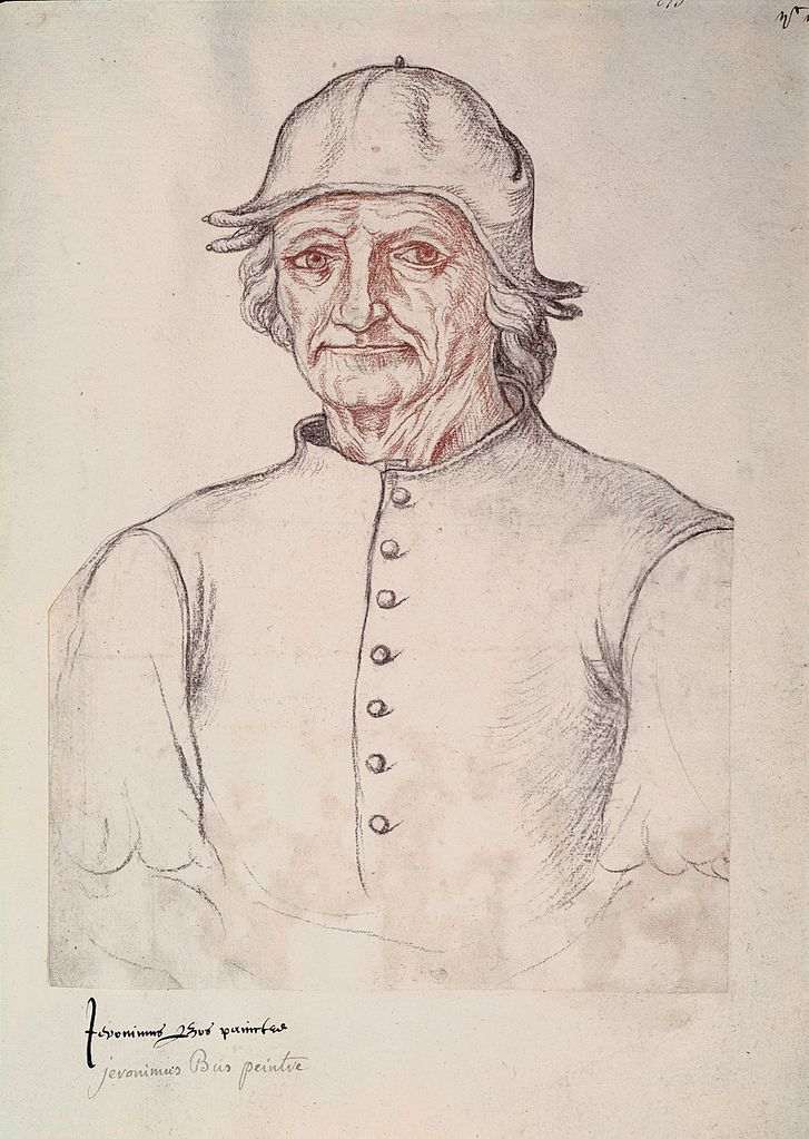 Hieronymus BOSCH, in a c. 1550 copy of a drawing thought to be a self-portrait.     His age in this representation (believed to be around 60 years) has been used to estimate his date of birth, although its attribution remains uncertain.