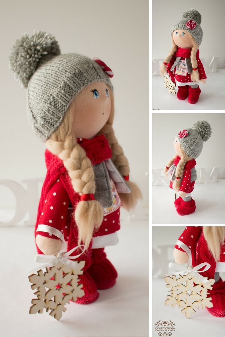 Winter tilda doll Christmas doll Art doll handmade blonde red grey colors soft doll Cloth doll Fabric doll toy by Master Yulia Postnova
