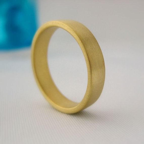 5mm Solid Yellow Gold Wedding Band - Flat Square Ring - Brushed Matte Finish - For Men or Women