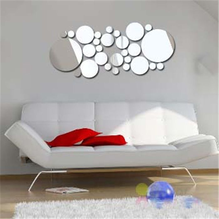 Modern home decor 30pcs solid round circle diy mirror wall stickers frame decor