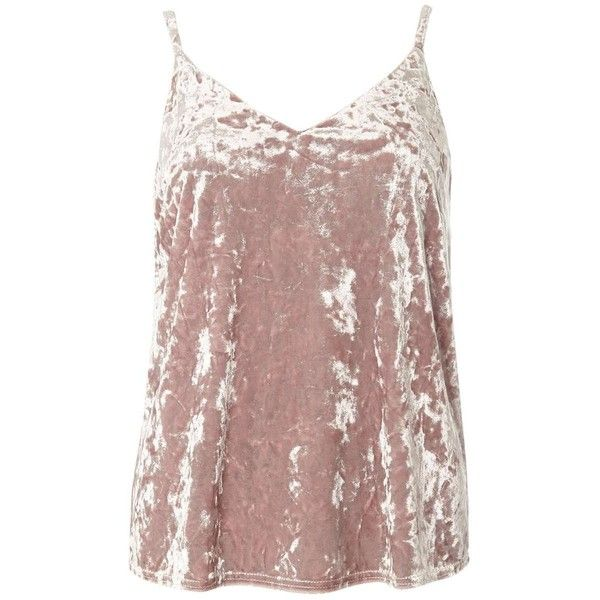 Dorothy Perkins **Petite Blush Velvet Cami Top ($39) ❤ liked on Polyvore featuring tops, petite, pink, camisole tops, pink tank, cami tank, brown tank top and pink camisole