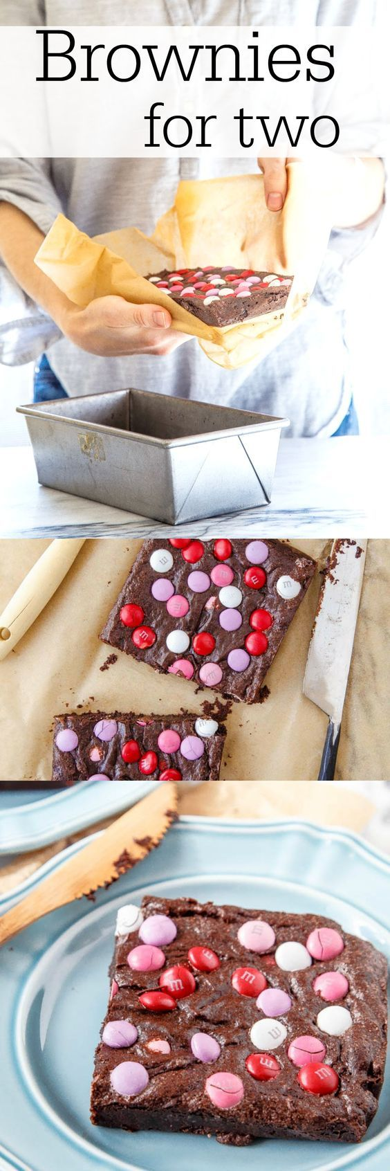 Small batch brownie recipe for two. A fun Valentine's Day chocolate dessert for two, or all for you on a Monday. Your choice ;) @dessertfortwo