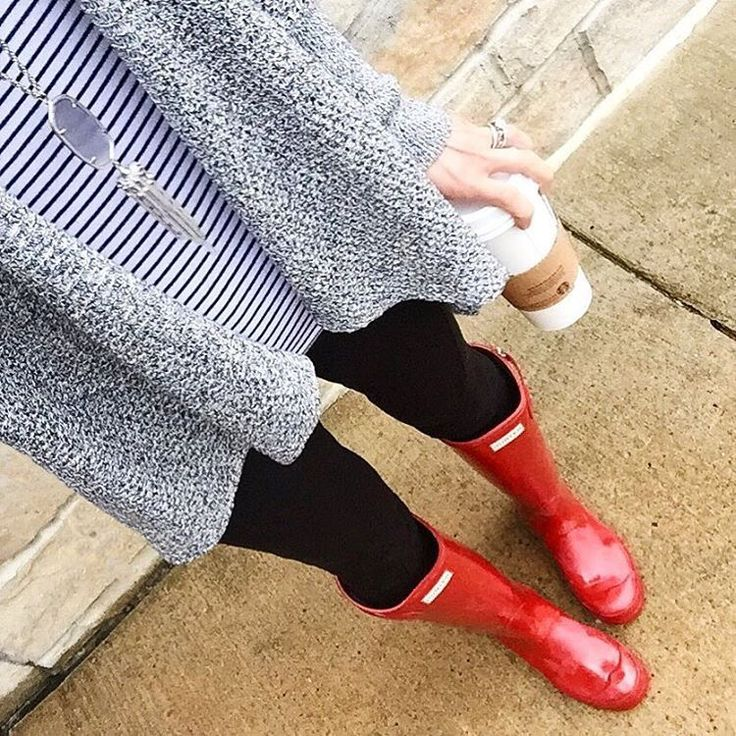 Cardigan + stripped top + leggings + red hunter boots <<Isabookworm>>