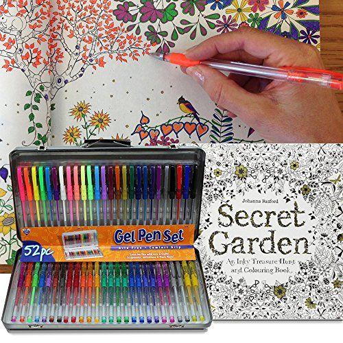 AI Friedman 52 Gel Pen Set W Secret Garden Coloring Book