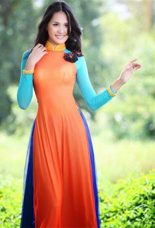 ao dai viet nam - apricot, orange, turquoise, royal blue ...