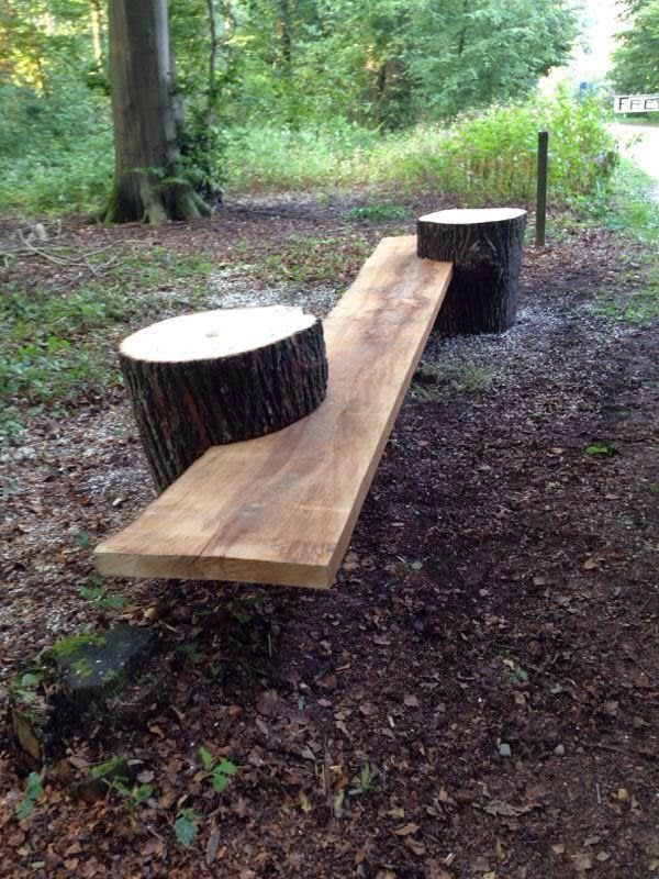 Natural log pathway : Source Log chair Interior bench log Swinging chicken : Source Familly dining table : Source Log raised bed : Source unknown