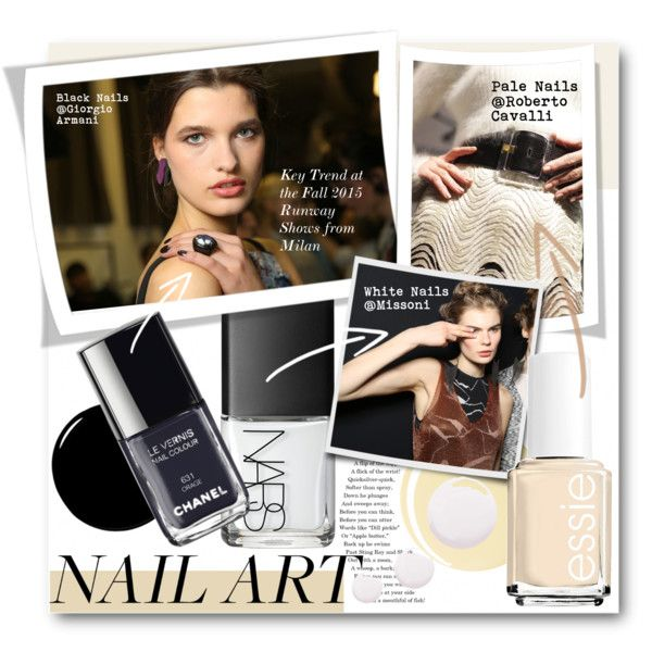 #Edgy Nail Art - MFW Key Trend for Fall 2015 Black Nails and Pale To White Nails by nikkisg on Polyvore featuring beauty, NARS Cosmetics, Deborah Lippmann, Essie, Topshop, Guide London, mfw and edgynailart