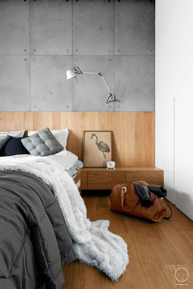 concrete and wooden details for modern bedroom style by oikoi studio - Modern Bedroom Decorating