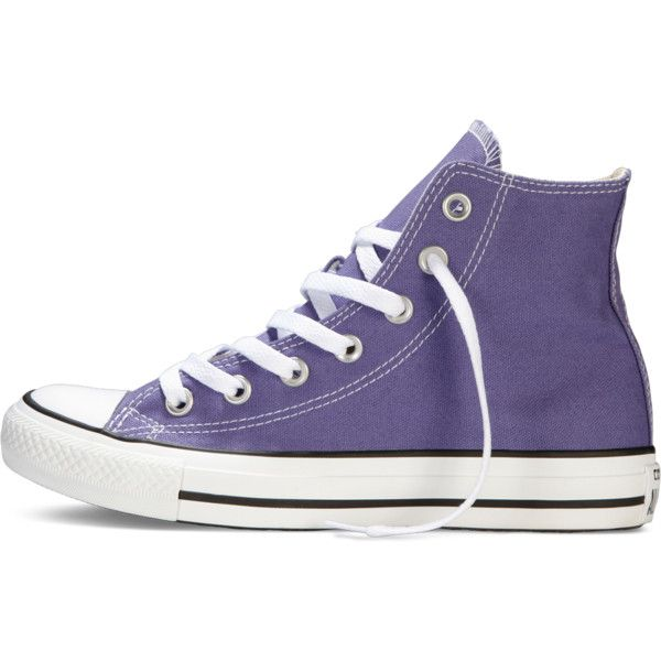 Converse Chuck Taylor All Star Fresh Colors – purple Sneakers ($40) ❤ liked on Polyvore featuring shoes, sneakers, converse, high top shoes, converse trainers, purple high top sneakers, star shoes and purple hi tops