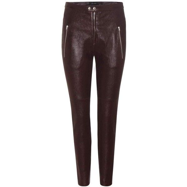 Isabel Marant Arnold Leather Trousers (1 457 AUD) ❤ liked on Polyvore featuring pants, red, skinny, trousers, red skinny pants, super skinny pants, skinny trousers, real leather pants and red leather pants