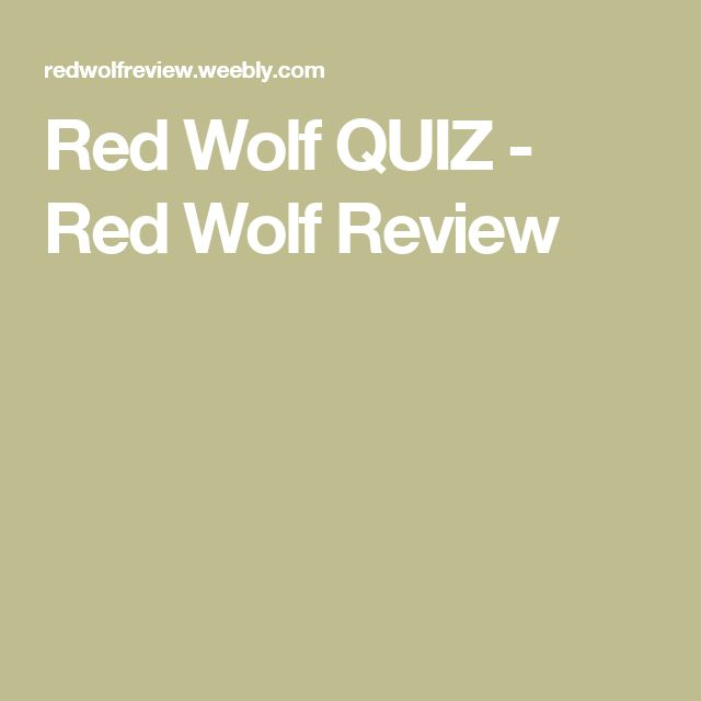 Red Wolf QUIZ - Red Wolf Review