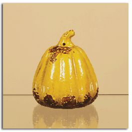 "Yellow Ceramic Tappered Pumpkin 6.5"" - $19.50"