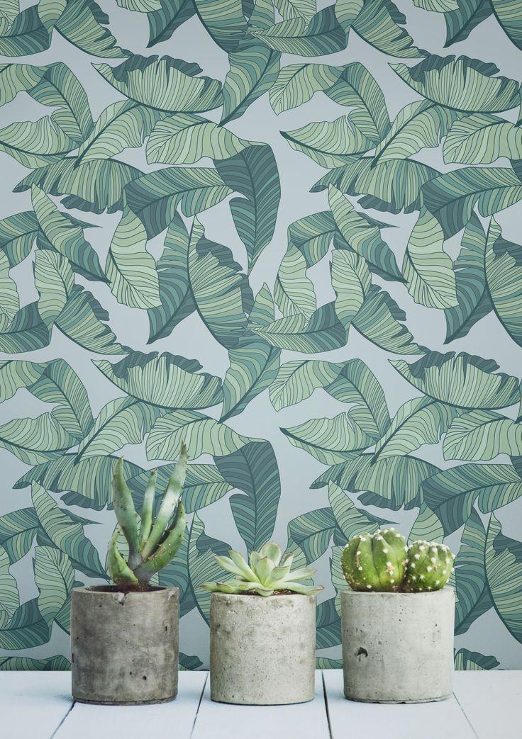 Tapete mit blaugrünen Blättern