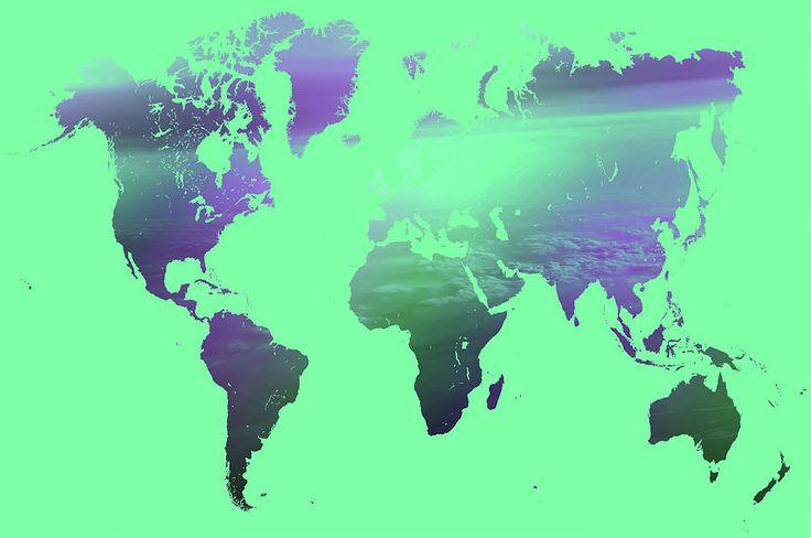 Rainbow World Map. Green Version by Jenny Rainbow