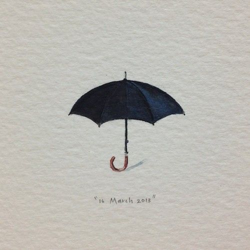 Day 75 : Film industry logic: if it rains, we cancel the shoot; if it doesn't, we get a rain-machine. #365paintingsforants #black #umbrella #rain  (at Vredehoek)