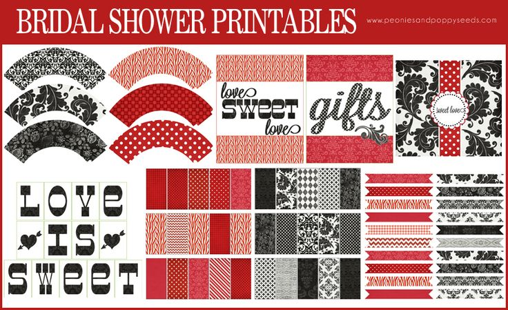 Red and Black Bridal Shower Printable   Peonies and Poppyseeds