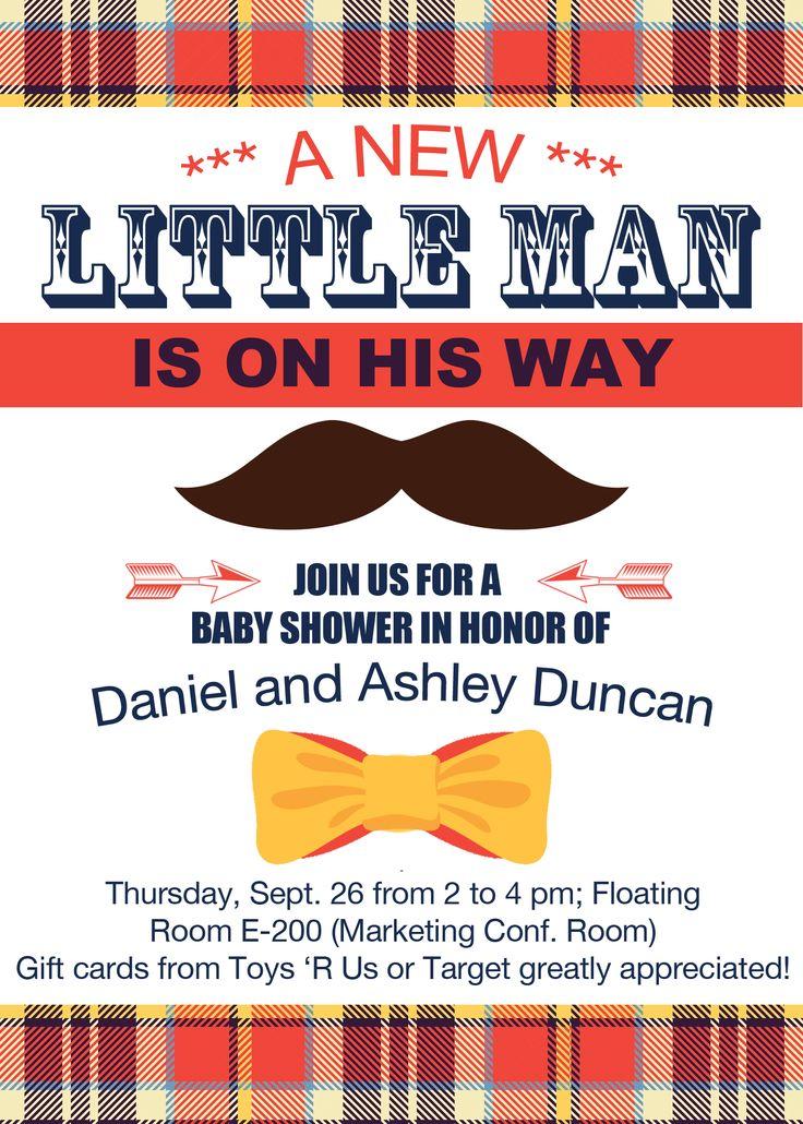 Hipster Mustache Bow Tie Baby shower invitation baby boy