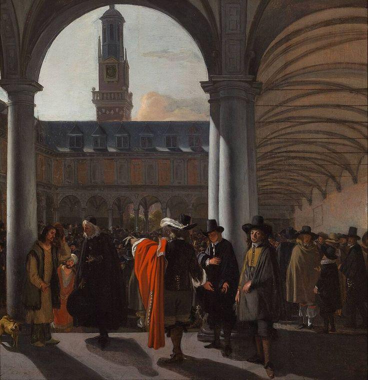 De binnenplaats van de Beurs in Amsterdam, Emanuel de Witte, 1653 | Museum Boijmans Van Beuningen