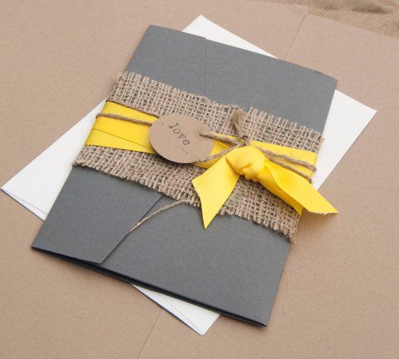 Rustic wedding invitation, yellow and gray, Burlap pocket wedding invitation on Etsy, $3.37 AUD