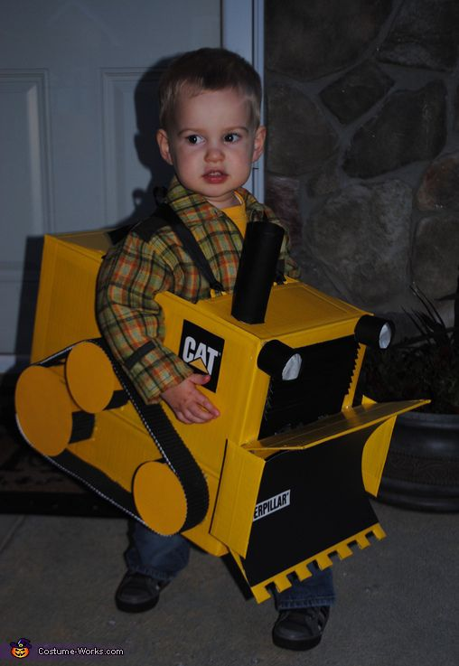 Little Bulldozer Costume - He loves construction. A great Halloween costume.