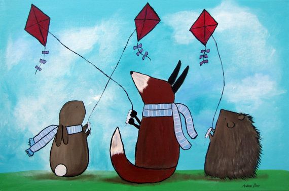 Animals with Kites Kids Wall Art Print Woodland by andralynn, $12.50